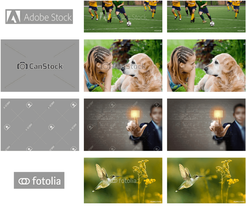 Google algorithm automatically removes watermarks from stock photos