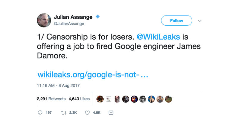 julian, assange, google, fired, censorship