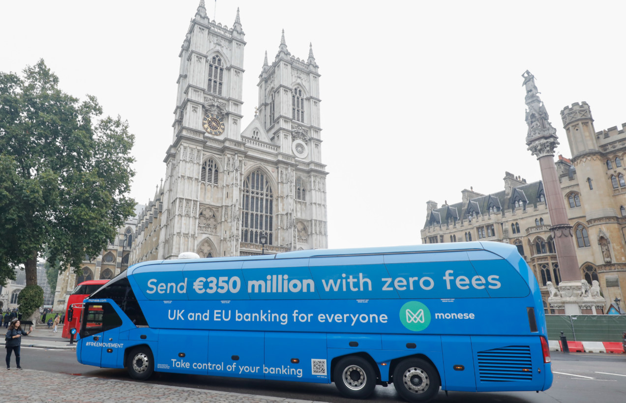 Fintech start-up repurposes the notorious Brexit bus