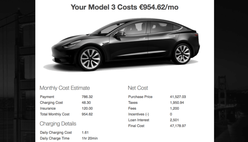 tesla, model 3, calculator, cost
