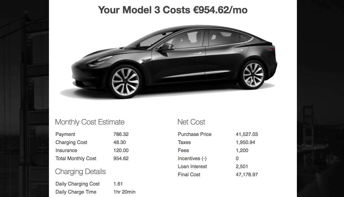 Tesla calculator estimates the monthly costs of owning a Model 3
