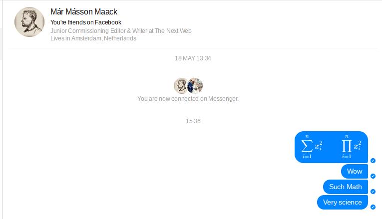 Latex in facebook messenger