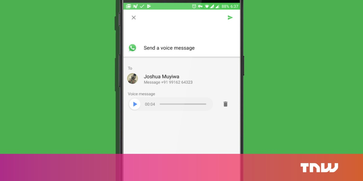 Android tip: Send WhatsApp voice messages without launching