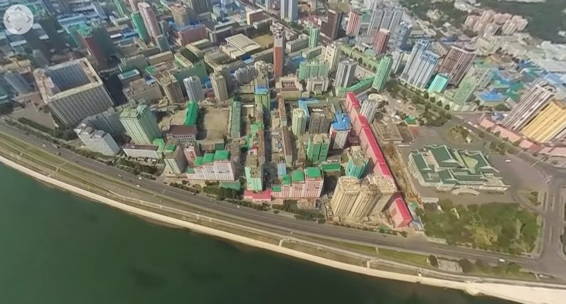 360 video shot over North Korea shows a sprawling, empty metropolis
