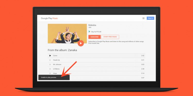 A single Google Play Music bug is keeping me from recommending it to friends in India