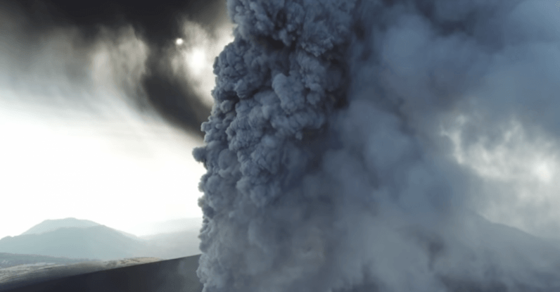 Watch: Insane drone footage of a Japanese volcano erupting