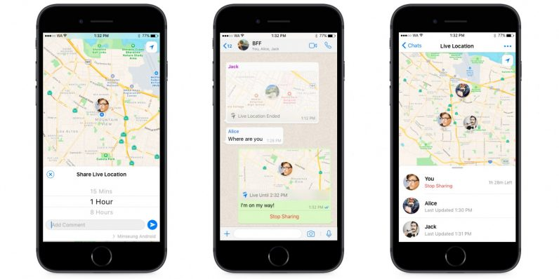 WhatsApp borrows live location sharing from Facebook