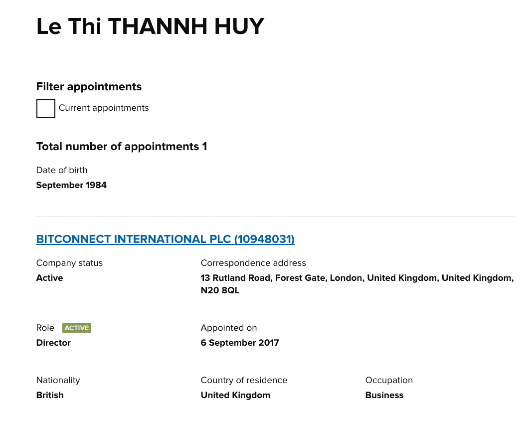 Uk threatens to shut down popular bitcoin investment site bitconnect it appears that a person named le thi thannh huy is involved in both bitcoin amr limited as well as bitconnect international plc ccuart Images