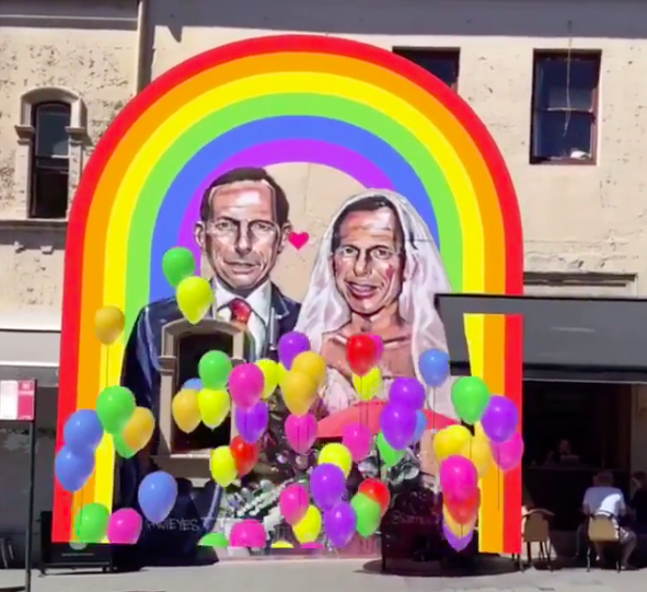 This AR mural is the perfect way to celebrate Australia's 'YES' vote for same-sex marriage