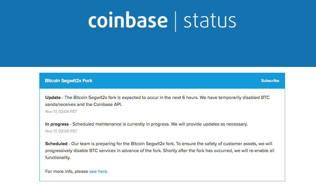 Crypto exchange desks freeze Bitcoin trading ahead of Segwit2X hard fork