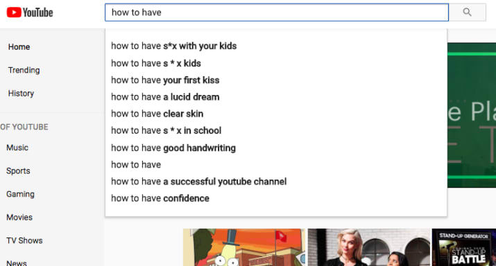 YouTube autocomplete suggests disturbing incestuous searches
