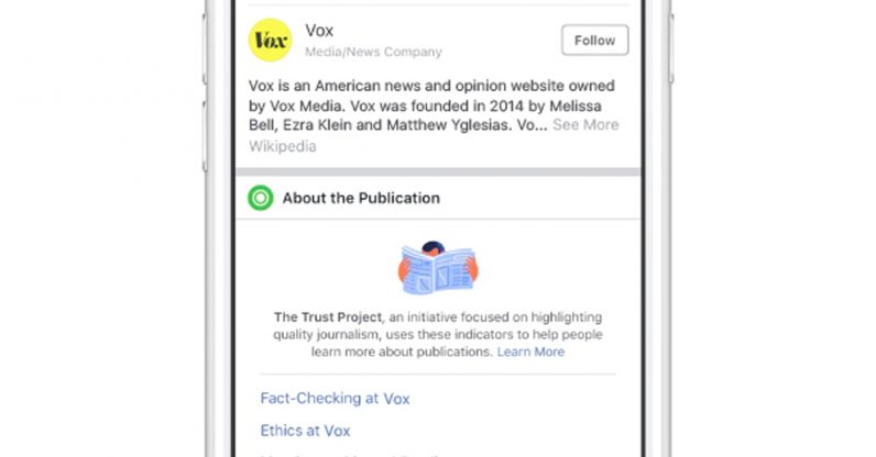 Trust Indicators let you know more about a publisher on Facebook