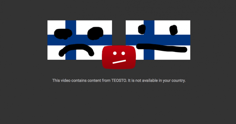 YouTube blocks tons of videos in Finland, including the national anthem