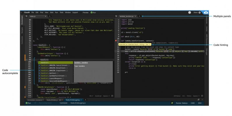 Amazon's AWS Cloud9 IDE lets you write, test, and debug code in your browser