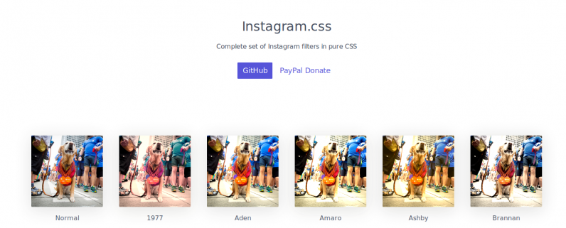 This CSS stylesheet lets you add Instagram-esque image filters to your website