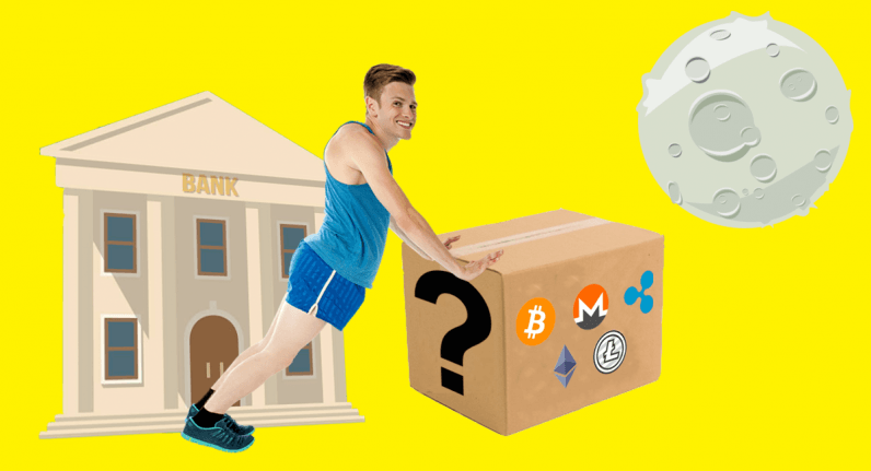 cryptocurrency, moon, mystery box,