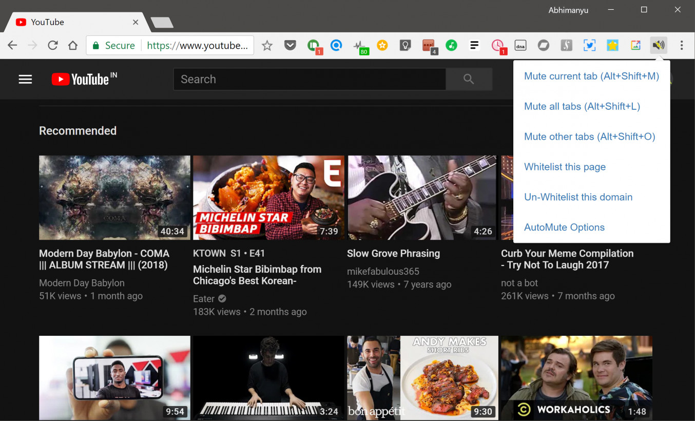 AutoMute provides a range of options for silencing browser tabs   Please don't judge my YouTube activity
