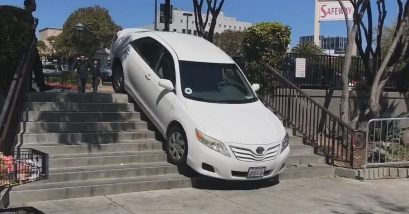 An Uber driver just suffered an embarrassing loss to a flight of stairs