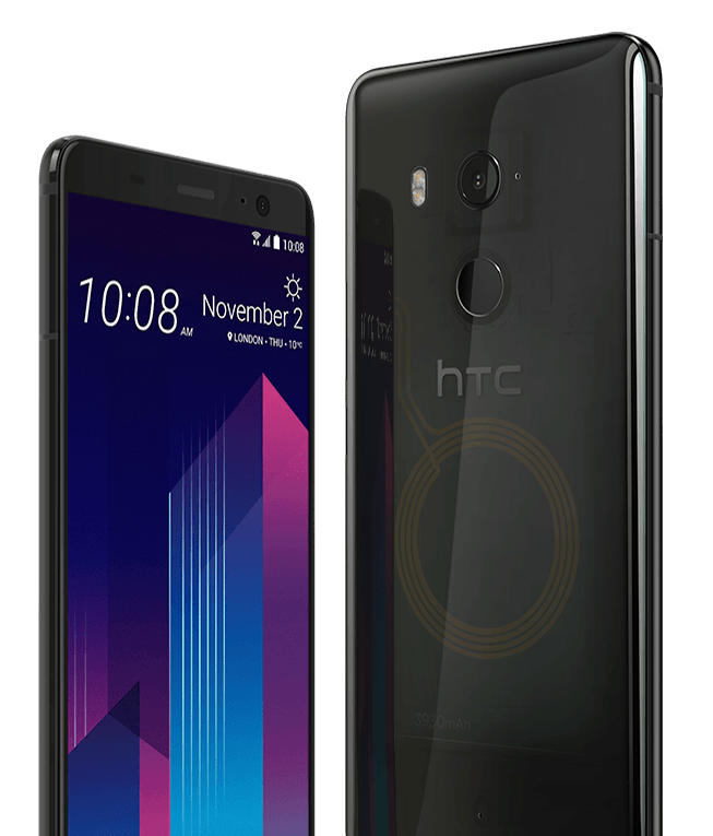 The HTC U11+ has a beautiful translucent black glass option