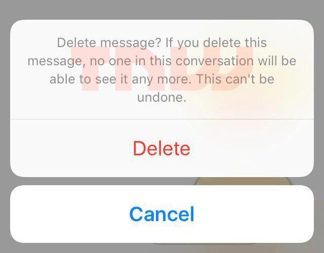 Facebook Messenger revoke message button