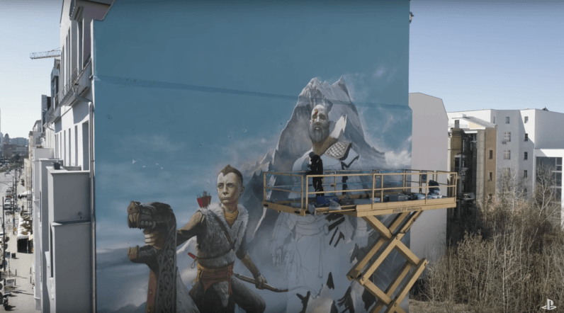 Sony commissioned a 50-foot shrine to God of War on the side of a building