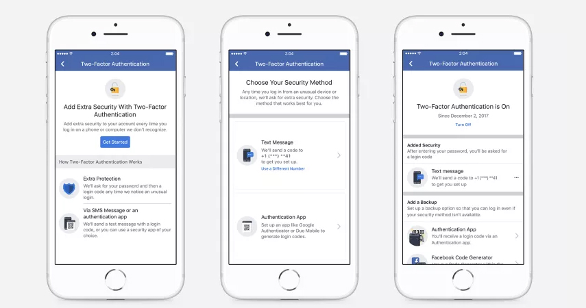 Facebook's two-factor authentication now works without a