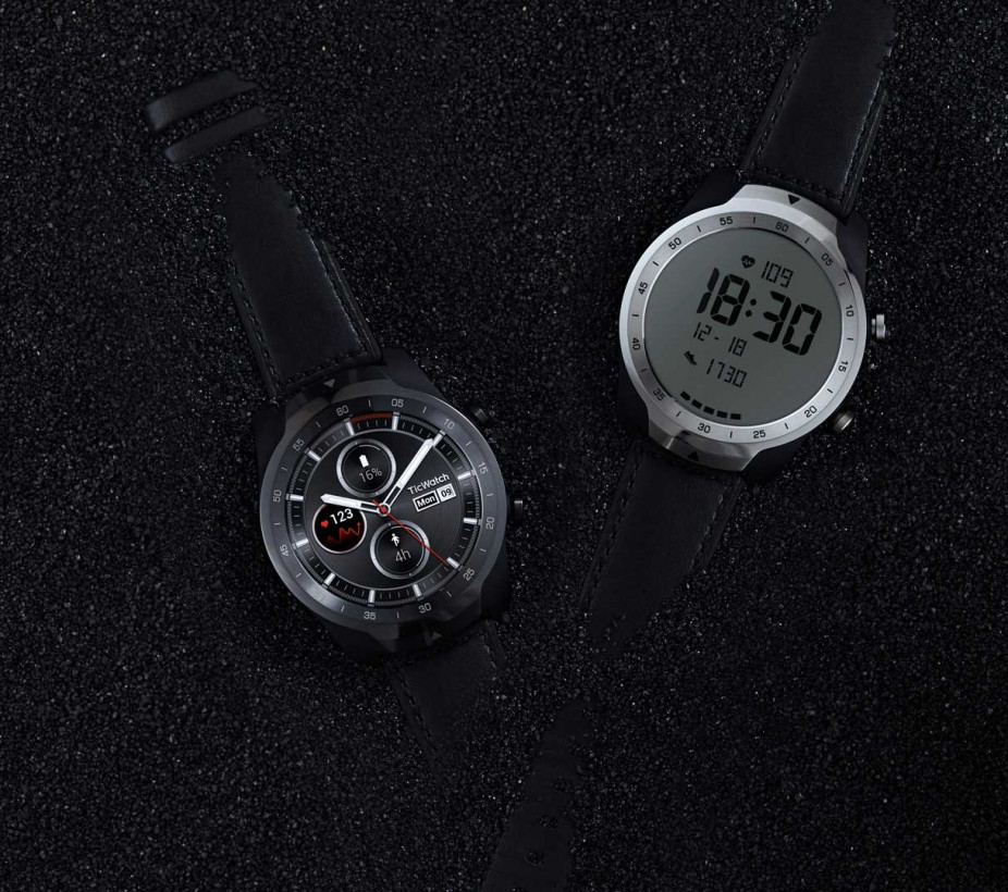 The TicWatch Pro features two displays in its screen