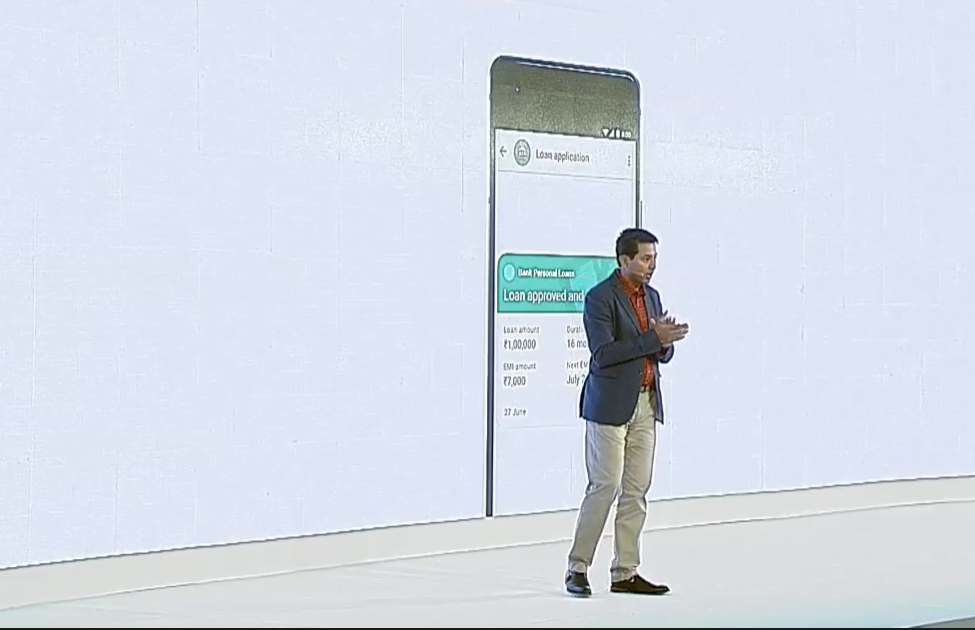 Caesar Sengupta describing instant pre-approved loans on Google Pay for India