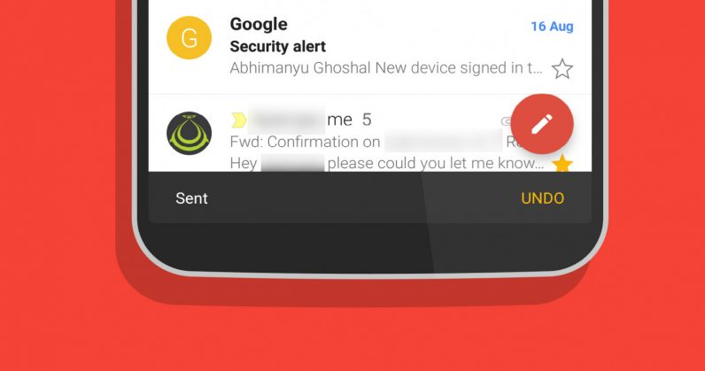 Gmail's Android app now lets you undo sending an email