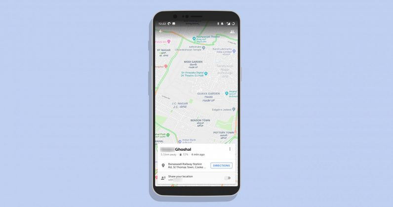 Google Maps location sharing adds phone battery status