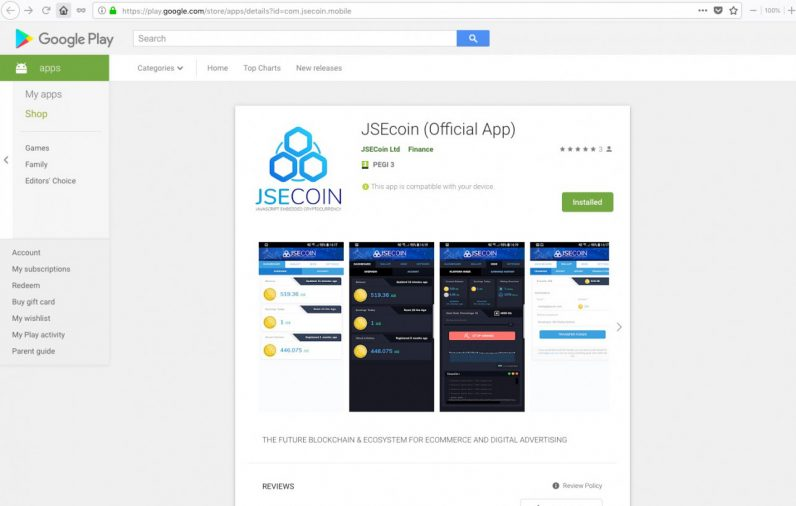 JSEcoin, play store, mining app, cryptocurrency
