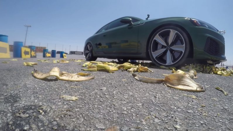 Watch: Hoonigan tests Mario Kart banana peel attack with real Audi RS5