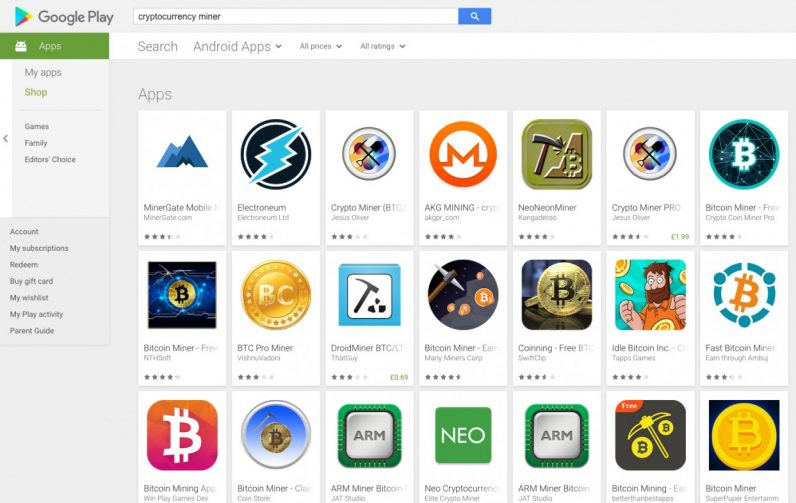 Mining apps, play store, Google, cryptocurrency
