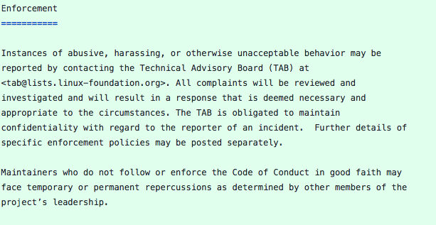 list of code of conduct