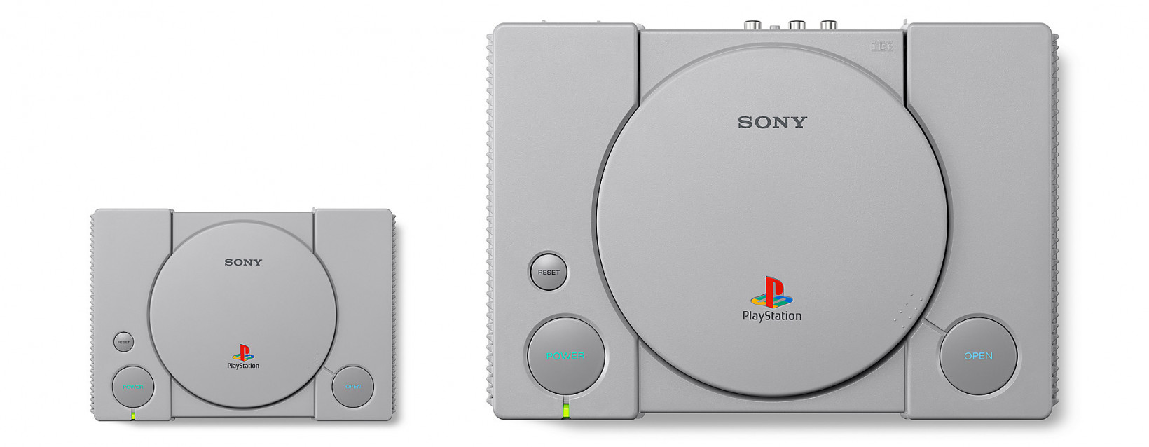 The new PlayStation Classic (left) alongside the original PlayStation (right)