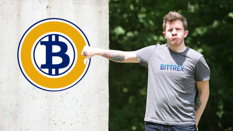 bitcoin gold, bittrex, 51, percent, delist