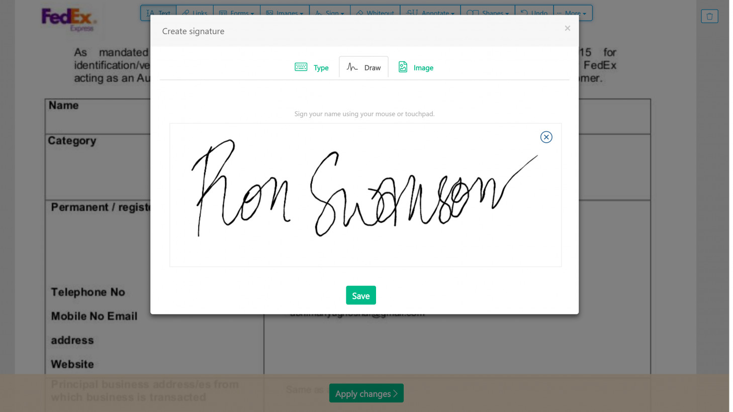 Creating a signature with a stylus in Sejda