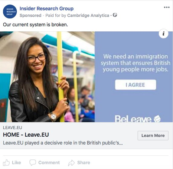 Facebook Ad Library: Only 3 'Brexit' ads for whole month. Yeah, right!