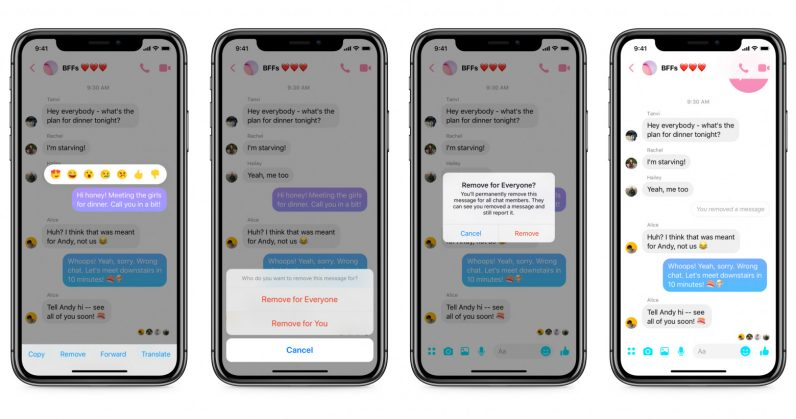 Facebook Messenger now lets you unsend messages