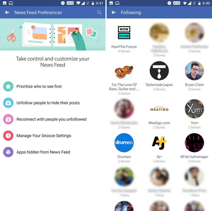 Facebook now lets you quickly unfollow people and Pages with just a tap