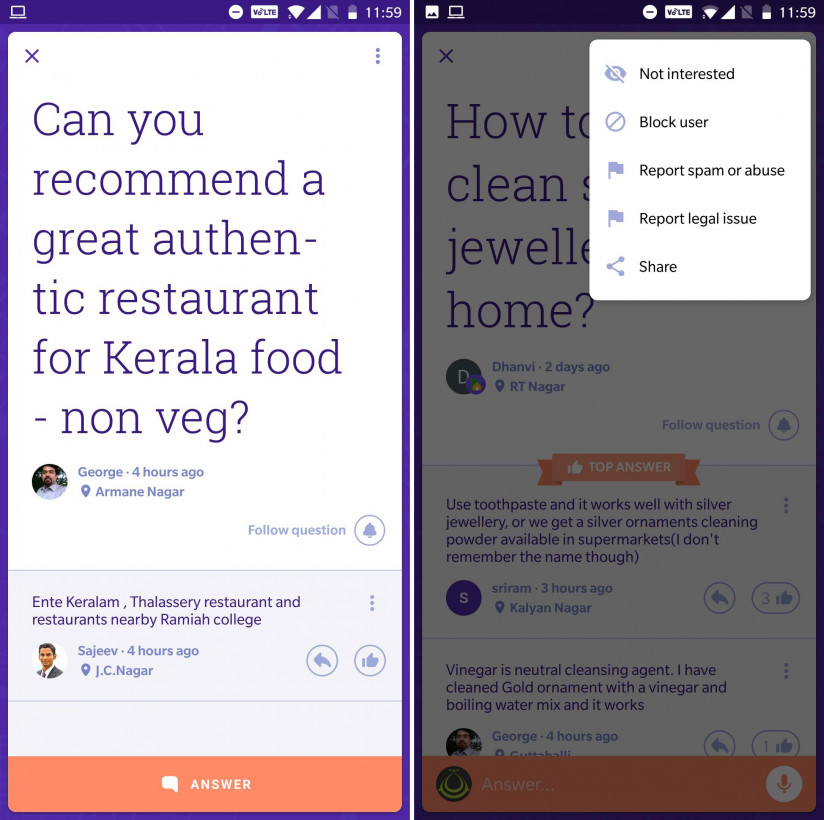 Neighbourly's interface is designed for qucik browsing and ease of use