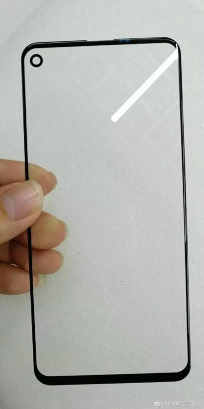 A supposedly leaked image of the screen protector for the upcoming Samsung Galaxy A8s