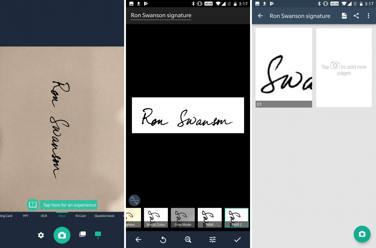 Scan your signature with CamSCanner