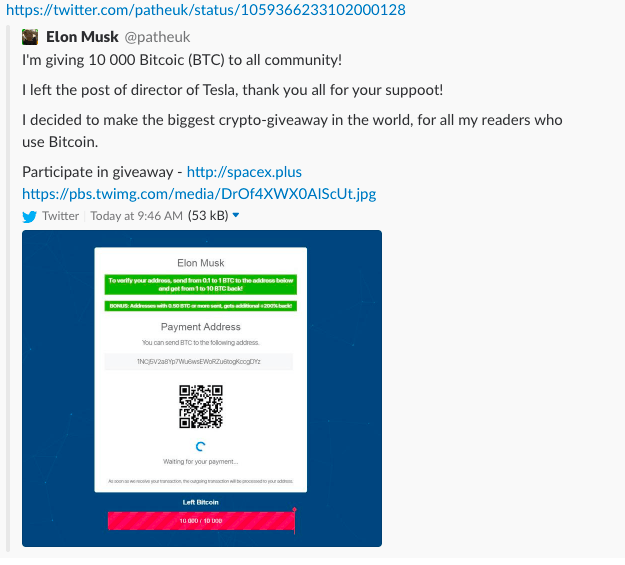 Hackers Promote Distribution Of 10 000 Bitcoins Through Fake Elon Musk Accounts class=