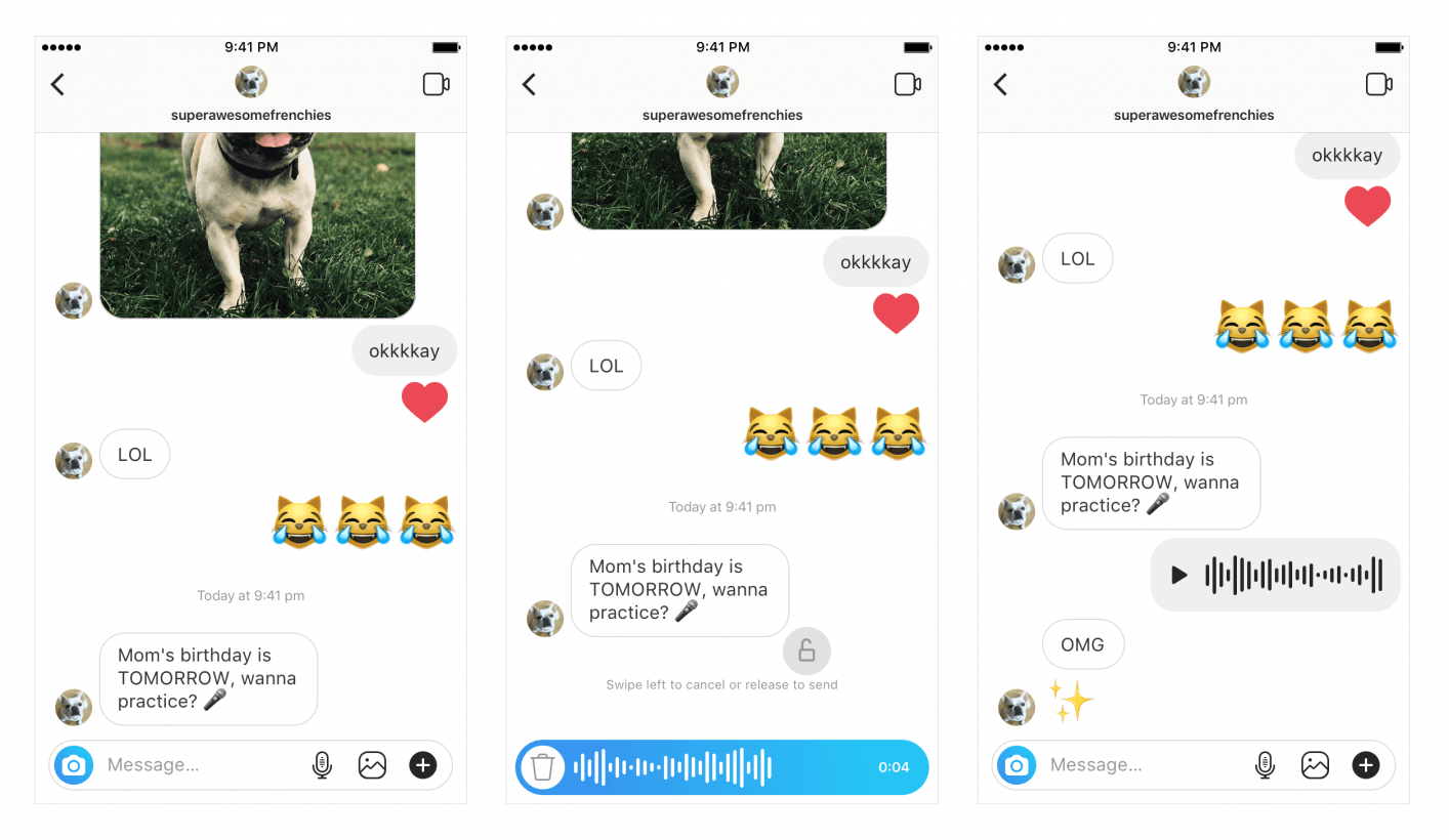 You can record and send voice messages in Instagram Direct