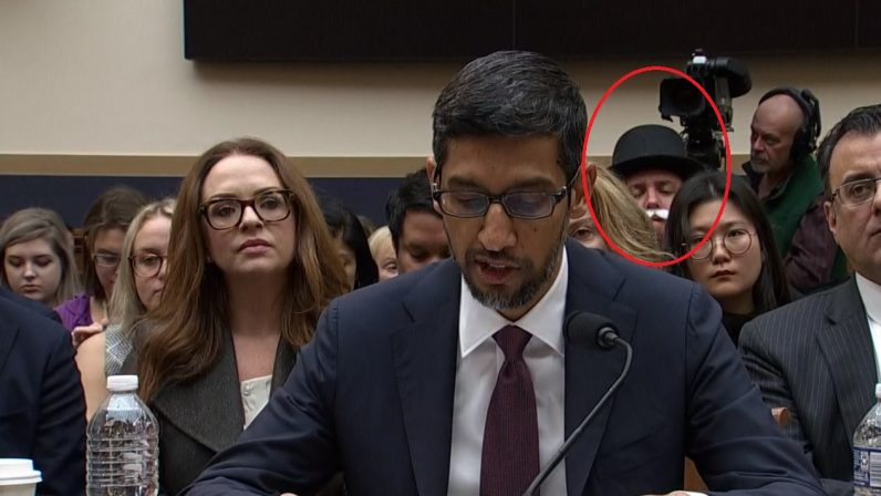 Monopoly man watches disapprovingly as Congress yells at Google's CEO