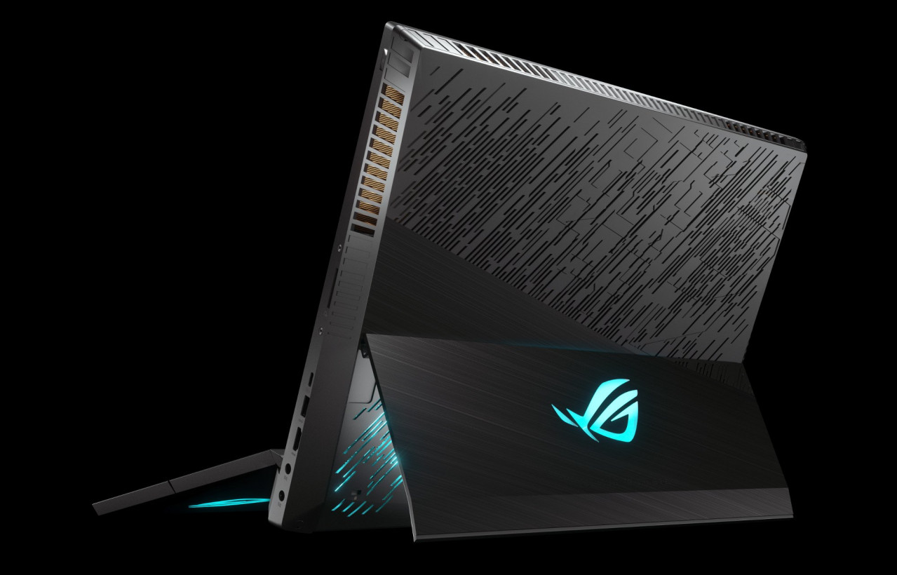The ASUS ROG Mothership features a kickstand so the laptop can be placed vertically on a flat surface for better cooling