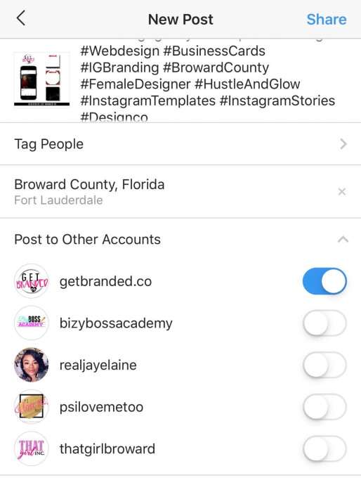 Instagram's iOS app will let you publish a post from all the profiles you manage on your device