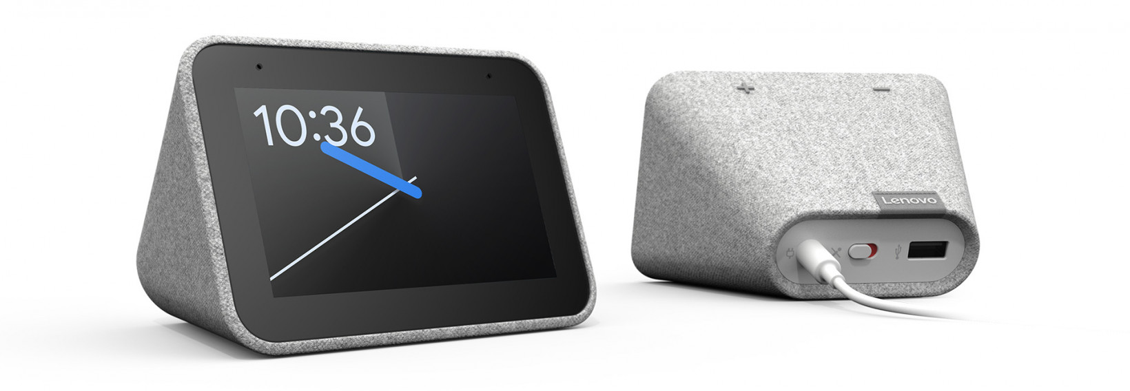 The Smart Clock features a 6W speaker, a 4-inch display, a fabric cover, and a USB port to charge other devices