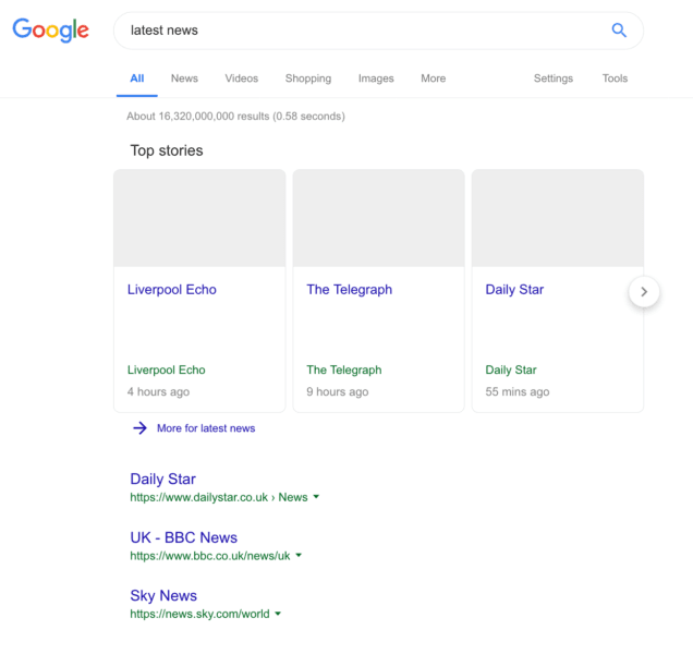 An example of what Google's search results for news might look like if the EU goes ahead with its copyright directive